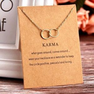 ⚡️2 for $15 KARMA Gold Tone Double Ring Necklace